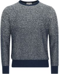 Canali - Navy Blue Cotton Sweater With Marble Effect - Lyst
