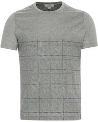 Canali - Gray Mercerized Cotton Jersey T-shirt With Check Motif - Lyst