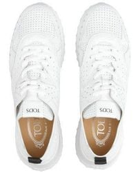 Tod's White Sneakers In Leather