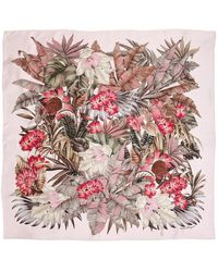 Ferragamo Silk Scarf With Foliage Print - Multicolour