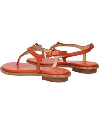b11df0033f3 Lyst - MICHAEL Michael Kors Lee Leather Flat T-strap Sandal in Brown