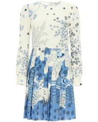 RED Valentino Oriental Toile De Jouy Print Short Dress - Blue