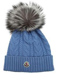 Moncler Hats Tricot Cashmere Sugar Paper - Blue