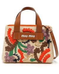 Miu Miu Raffia Embroidered Handbag - Multicolour