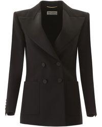 Saint Laurent Double-breasted Smoking Jacket - Black