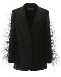 Valentino Jacket With Ostrich Feathers - Black