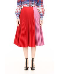 CALVIN KLEIN 205W39NYC Bicolor Pleated Skirt - Red