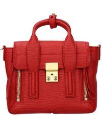 3.1 Phillip Lim Crocodile Skin Crinkled Handbag - Red