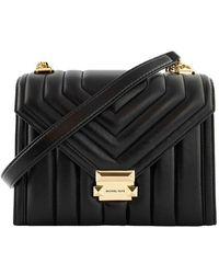 Michael Kors Large Convertible Whitney Shoulder Bag In Quilted Leather - Black