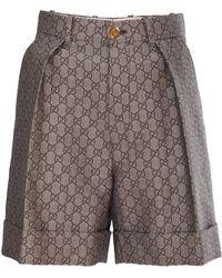 Gucci Short Made Of Gg Wool - Natural