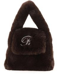 Blumarine B Strass Faux Fur Bag - Black