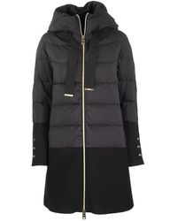 Herno Long Down Jacket With Coat Underneath - Black