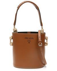 Prada Bucket Bag With Rope Knots - Brown