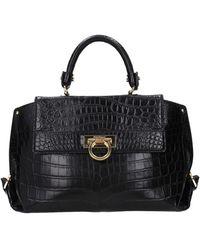 Ferragamo Handbags Sofia Leather Crocodile - Black