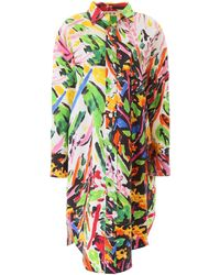 Marni Oversized Floral Print Shirt Dress - Multicolour