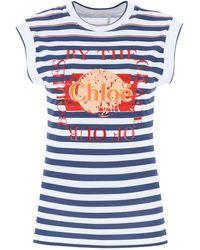 Chloé Citrus Fruit Print T-shirt - Blue