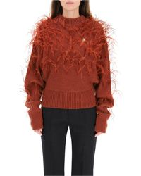 The Attico Jumper With Feathers S Wool - Brown