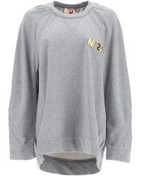 N°21 N.21 Over Sweatshirt With Golden Logo - Grey