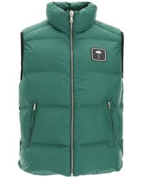 Palm Angels Puffer Vest With Palm Tree Logo - Green