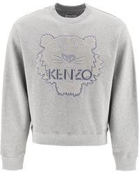 KENZO Tiger Embroidered Sweatshirt - Grey