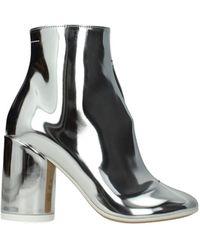 Maison Margiela Ankle Boots Mm6 Leather - Metallic