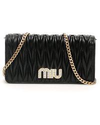 Miu Miu Miu Crystal Matelasse Clutch - Black