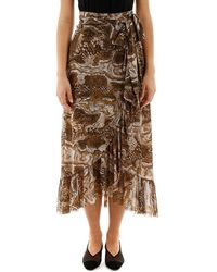 Ganni Ruffled Printed Stretch-mesh Wrap Skirt - Brown
