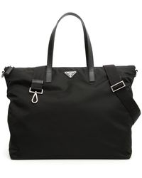 Prada Saffiano Logo Tote Bag - Black