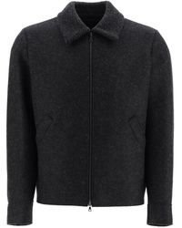Harris Wharf London Wool Bomber Jacket - Black