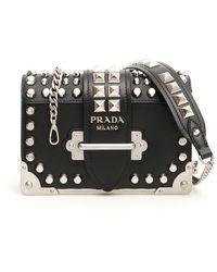 Prada Studded Cahier Bag - Black