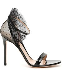 Gianvito Rossi Heeled Tulle Detail Sandals - Black