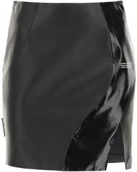 Off-White c/o Virgil Abloh Leather Mini Skirt 40 Leather - Black