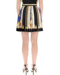 Versace Barocco Mosaic Print Pleated Mini Skirt - Blue