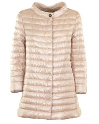 Herno Rossella Soft Pink Medium Length Cowl Neck Down Jacket - Multicolour