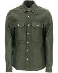 Rick Owens Gethsemane Leather Jacket 48 Leather - Green