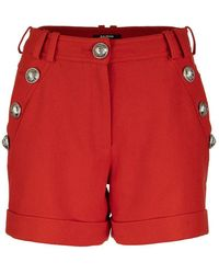 Balmain Short Cotton Shorts With Buttons - Red