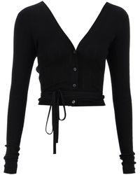 Miu Miu Superfine Wool Crop Cardigan - Black