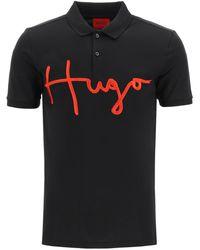 HUGO Polo Shirt With Embroidered Logo - Black