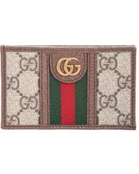 Gucci Ophidia Gg Plaque Leather Cardholder - Natural