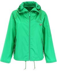 Prada Hooded Logo Patch Jacket - Green