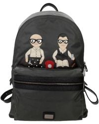 Dolce & Gabbana Backpack And Bumbags Patch D&g Family Men Grey - Black