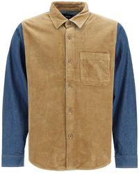 Stussy Corduroy Denim Mix Shirt L Cotton - Blue