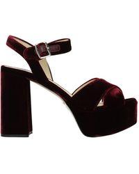 Prada - Sandals Velvet Bordeaux - Lyst