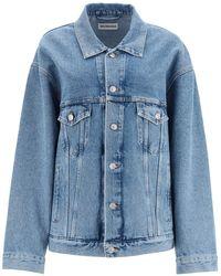 Balenciaga Languages Print Denim Jacket - Blue