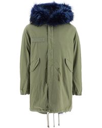 Mr & Mrs Italy Army Long Parka With Coyote Fur And Murmasky - Green