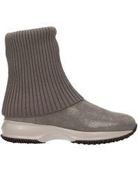 Hogan Ankle Boots Fabric - Grey