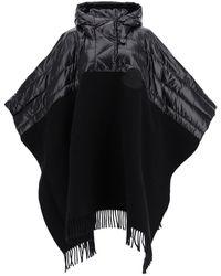 Moncler Basic Hooded Bi-material Cape - Black