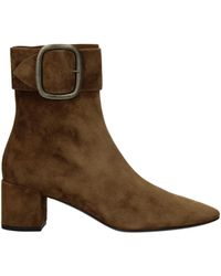 Saint Laurent Ankle Boots Suede - Brown