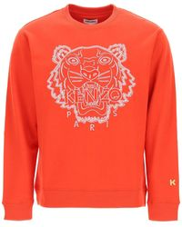 KENZO Crewneck Sweatshirt With Tiger Embroidery L Cotton - Red