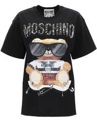 Moschino Mixed Teddy Bear Crew Neck T-shirt - Black